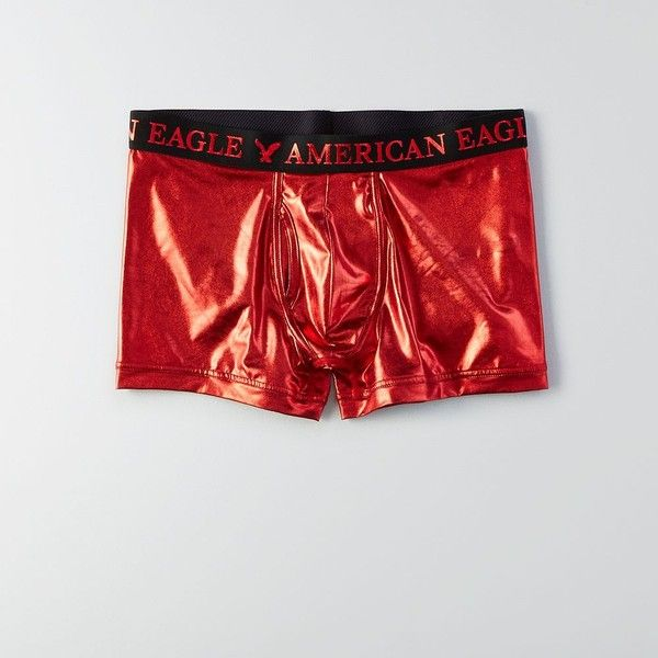 """AE Foil 3"""" Classic Trunk ($18) ❤ liked on Polyvore featuring men's fashion, men's clothing, men's underwear, red and american eagle outfitters"""