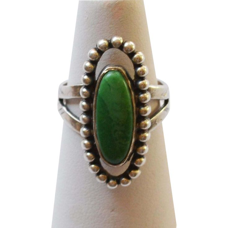 Vintage Malachite & Sterling SIlver Ring Cutout Design Size 6 1/2 www.rubylane.com #vintage #vintagejewelry #cocktailring #sterlingsilver #malachite #cutout