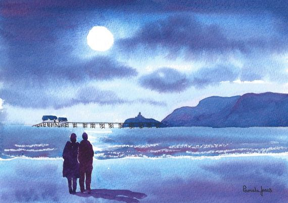 Original Watercolour Walk in the Moonlight by Pamelajonesartstudio, £40.00