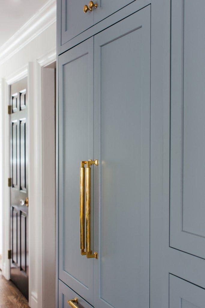 Haniburton Appliance Pulls In Unlacquered Brass Finish From Schaub And Company Featured In Erin Kestenbaum Brass Kitchen Hardware Inset Cabinetry Brass Kitchen