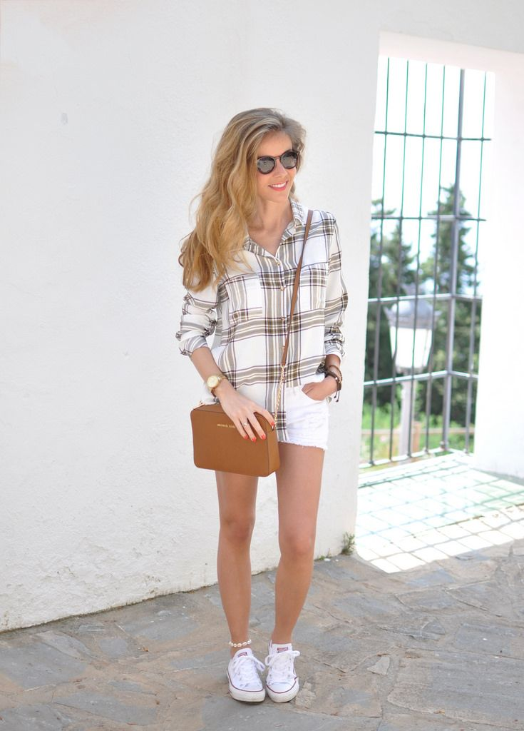 Plaid shirt, white shorts, Michael Kors bag and converse