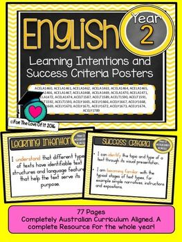 GRADE 2 All English Learning INTENTIONS & Success Criteria! Compatible with ALL STATES  AUSTRALIAN CURRICULUMTHESE ARE EXACTLY THE SAME AS THE LEARNING GOALS JUST REWORDED FOR THOSE WHO USE INTENTIONS INSTEAD of GOALS.This packet has all the posters you will need to display the learning INTENTIONS for the whole year:GRADE 2 Australian Curriculum English Reading and Writing Speaking and Listening(Language, Literature, Literacy)All content descriptors have been reworded into smart goals wit...