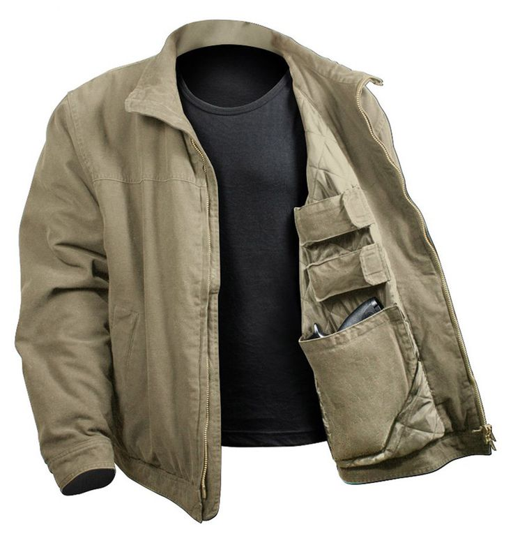 The 3 Season Concealed Carry Jacket will keep you warm from the fall to the spring season; the jacket features a washed 100% cotton outer shell and polyester inner lining. The casual jacket comes with