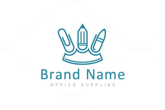 For sale. Only $29 - creative, simple, royal, office, school, tool, ink, press, pencil, pen, type, write, three, jewelry, crown, kingdom, king, clip, supplies, paper, journalist, clasp, draw, blue, logo, design, template,