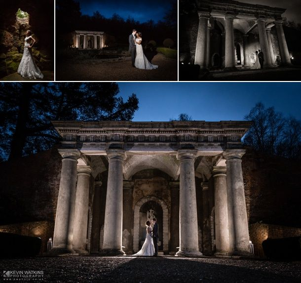 The incredible Wotton House wedding venue in Surrey at night