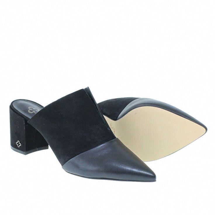 Mule Luxury Decote em V Preto 3879 Capodarte para Mosela   Moselle sapatos finos online! Mosela é mulher   – mule casual shoes – mules sapatos femininos casual esporte fino