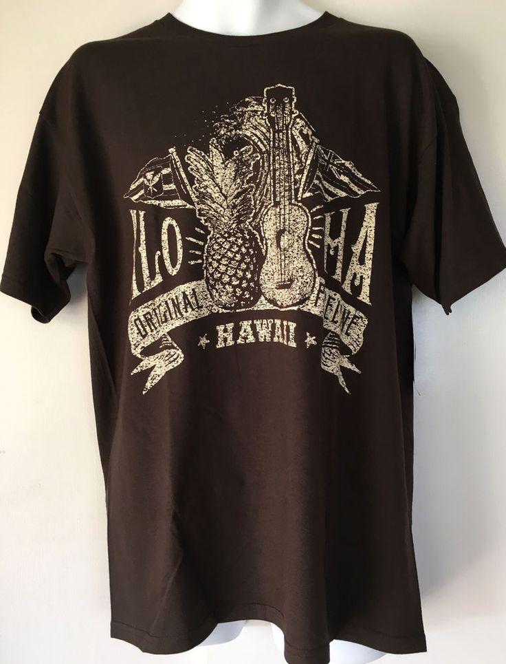New pipeline aloha hawaii surf mens t shirt size l ukulele for Hawaii souvenir t shirts