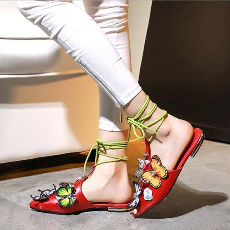 Купить Новый Бренд Бабочки Острым Носом Кожаные Ботинки Женщин Бездельников…