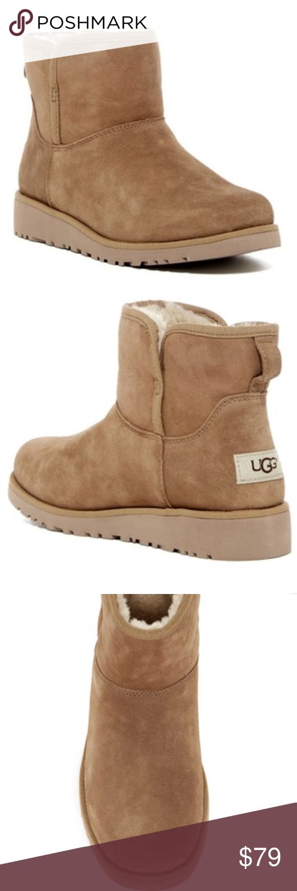 NWT ugg Australia katalina girls boots Sz 3 An adorable short boot is designed especially for a child's foot with water-resistant suede and a soft, cozy lining made from genuine shearling so her feet can stay warm when the temperature drops.  Water resistant  - Round toe  - Suede construction  - Topstitched detail  - Pull-on  - Back pull-tab  - UGGpure lined footbed  - Genuine shearling lining UGG Shoes Boots