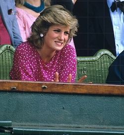July 5, 1985: Princess Diana watching Kevin Curren v. Jimmy Connors on centre court in the Men's Singles, Wimbledon.