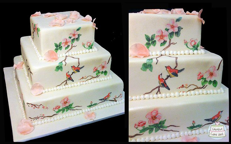 Hand painted Japanese themed wedding cake