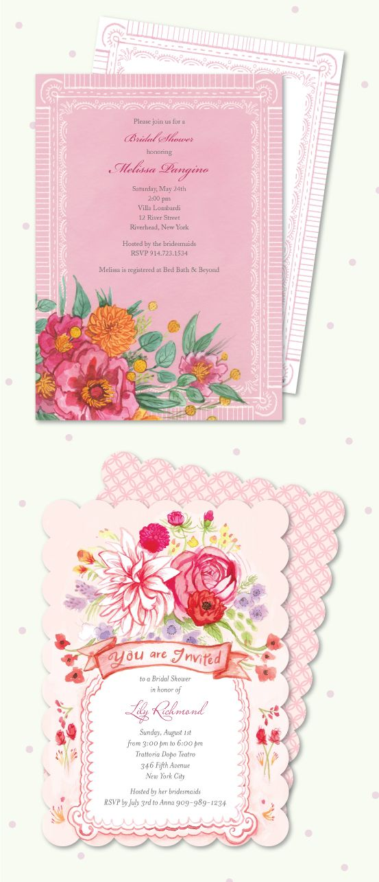 how early should you send out wedding shower invitations%0A Bonnie Marcus Bridal Shower Wedding Invitations  watercolor  floral  pink   delicate
