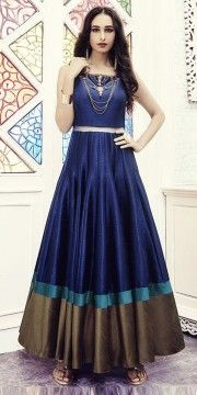 Adorning Blue Silk Designer Gown.