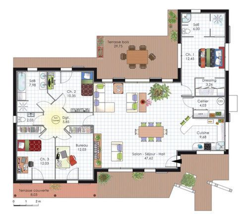 Plan habillé Rez-de-chaussée - maison - Maison à l'architecture bioclimatique