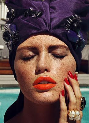 Freckles Poolside Sun Protection Redhead Model Beauty Shoot with ...