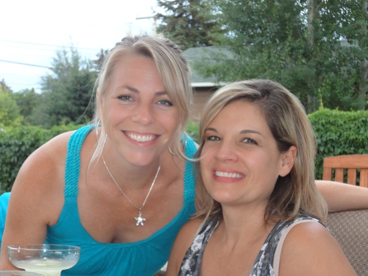Good friends...drinks on the patio!