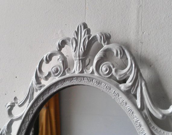 Fairy Princess Mirror - Ornate Vintage Frame in Glossy Bright White - 10 by 7 inches on Etsy, $34.00