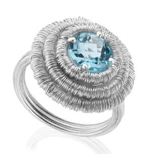 Silver wrap ring with blue topaz in stock £390 #silver #contemporary #boutique #London  #designer #jewellery  #NudeJewellery