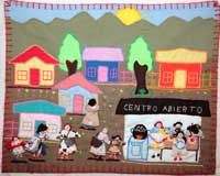 "Arpillera, Marjorie Agosín: ""Centro Abierto / Women at a Soup Kitchen"". The Art of Survival"", An Exhibition of Chilean Arpilleras, Harbour Museum, Derry, Ireland. 2008."