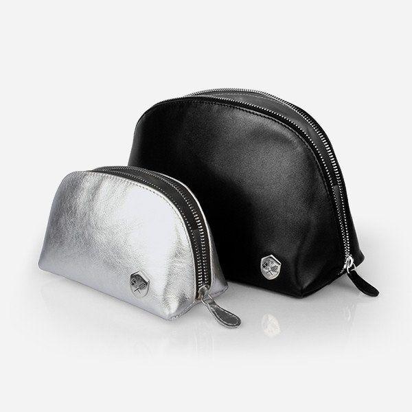 Make-up Bag Set - black and silver leather make-up bags - Poppy Barley