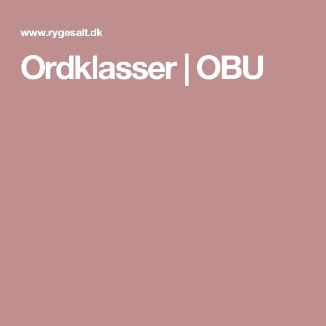 Ordklasser | OBU