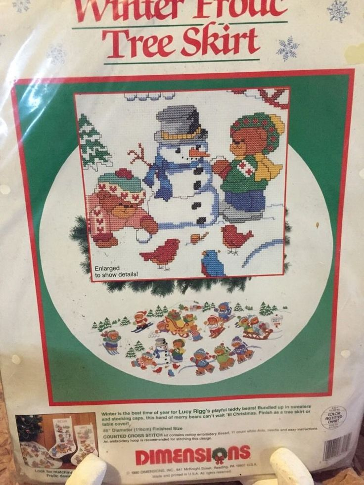 Winter Frolic Christmas Tree Skirt Counted Cross Stitch Lucy Rigg 46 Dimensions