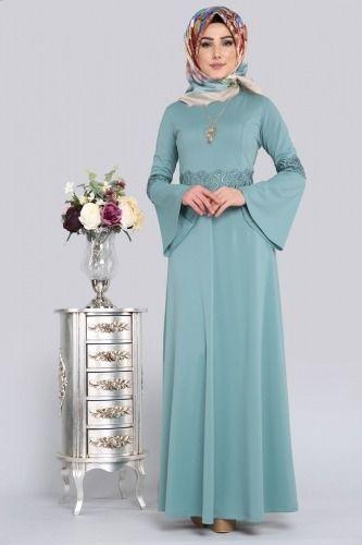 Güpür Detay Tesettür Elbise PRM3038 Mint