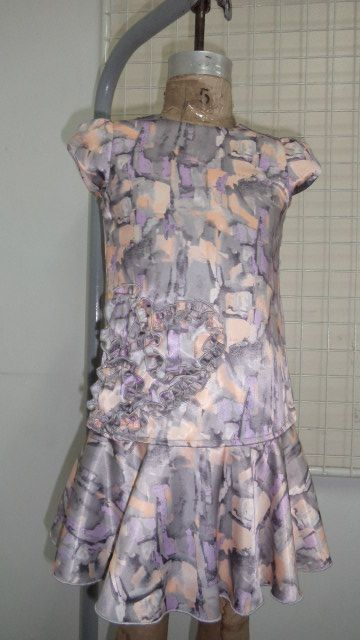 girls dress in abstract printed soft satin fabric with front ruching detail...just divine!