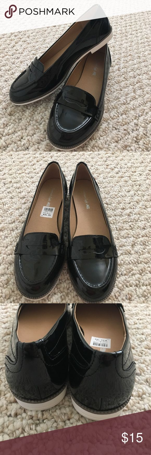 American Eagle black loafers.  Size 7.5 EUC American Eagle black patent-like loafers.  EUC, only wore for 1 hour.  Wish they fit me, true to size 7.5. Comes without shoe box. American Eagle Outfitters Shoes Flats & Loafers
