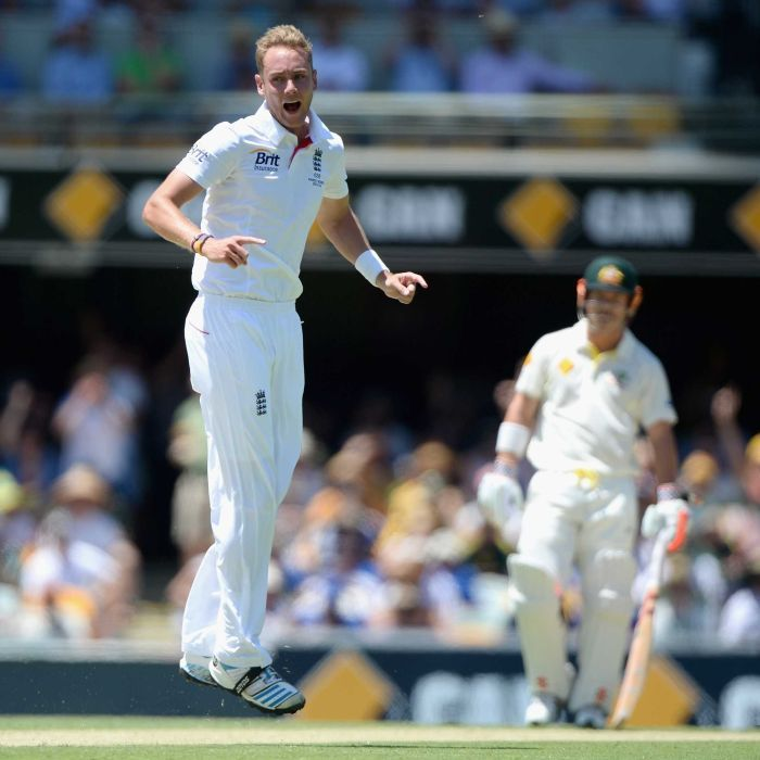 Stuart Broad of England celebrates dismissing Chris Rogers of Australia during day one of the First Ashes Test match - Stuart Broad of England celebrates dismissing Chris Rogers of Australia during day one of the First Ashes Test match.  Getty Images: Gareth Copley