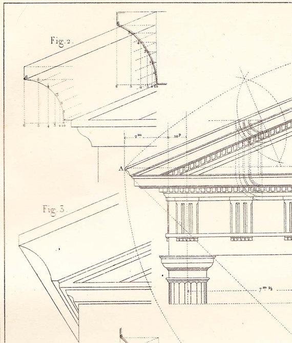 Facades Doric Order Architecture Drawing  Vignola by carambas, $14.00