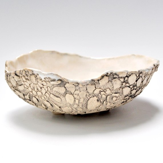 Textured Lace Bowl in Satin White hand built stoneware pottery