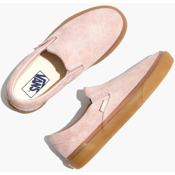 MADEWELL Vans® Unisex Classic Slip-On Sneakers in Rose Suede ($60) ❤ liked on Polyvore featuring shoes, sneakers, sepia rose, rubber sole shoes, suede sneakers, slip on shoes, suede shoes and pull-on sneakers