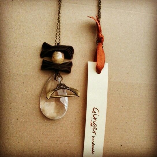 Necklace#chain#brown#leather#raku#ceramic#pearl#glass#hanger#pendant