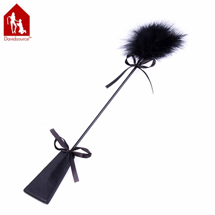 Davidsource Black Feather Leather Whip Paddle Cane Spanking Tickle Sex Flirt Kit Kinky Fetish Torture Gear Sex Toy