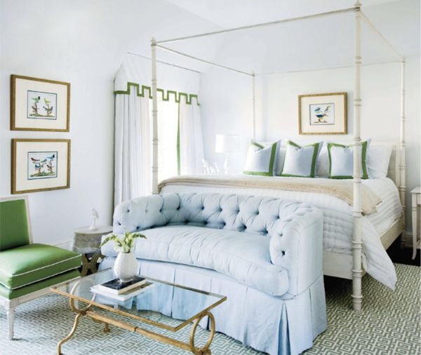 Love this light, bright bedroom with touches of green and blue. Perfect for Spring! Photo credit: Coco+Kelley
