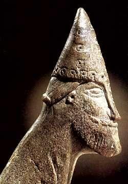 Antler carving of a presumed Norseman found at Sigtuna, Sweden.