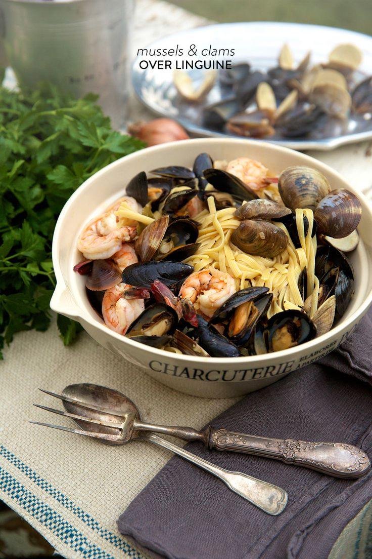 Haylie Duff's Mussels & Clams Over Linguine   Be sure and enter the giveaway for her new cookbook on SMP Living:  http://www.stylemepretty.com/living/2013/12/03/haylie-duffs-mussels-clams-over-linguine/