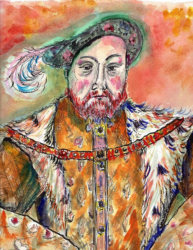 Opulence, grandeur, poster boy for excess, Henry VIII is a fascinating character.  A riot of color explodes in this portrait with heavy use of orange, pink, green and blue. / Original artwork is watercolor, Pen and Ink on 140 pound Arches Hot Press watercolor paper. • Buy this artwork on apparel, phone cases, home decor, and more.