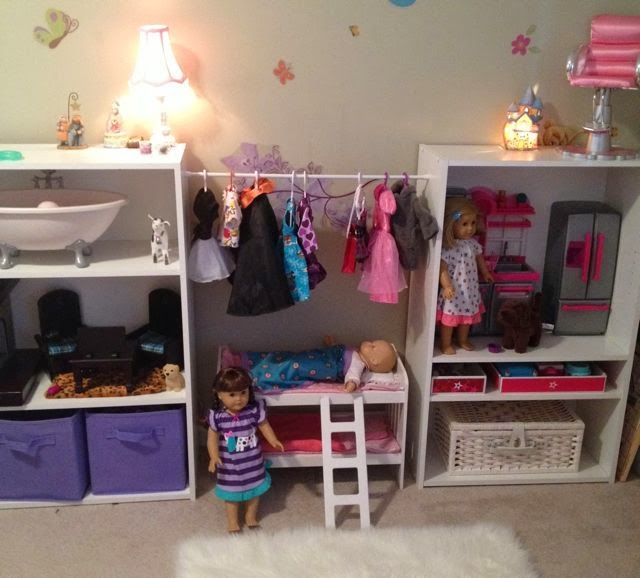Ordinaire Tension Rod Between Two Bookshelves For American Girl Doll Clothing Storage