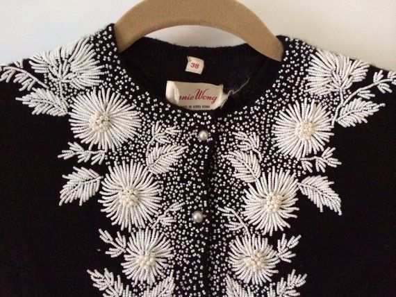 Vintage Hand Beaded Bonnie Wong Cardigan Sweater