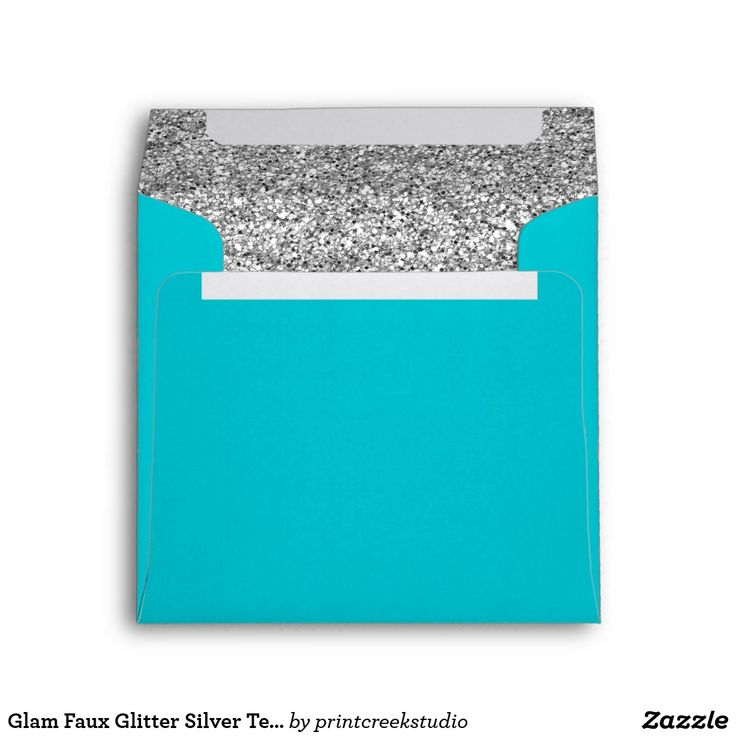 Glam Faux Glitter Silver Teal Blue Envelope A modern teal blue and faux silver glitter square envelope. Designs are flat printed graphics - NOT ACTUAL GLITTER.