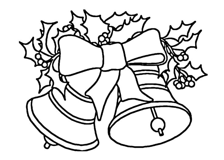 Christmas Bells With Bow Coloring Pages For Kids Printable Free