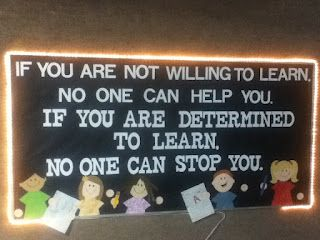 """{{ I love his """"bling"""" bulletin board idea!! Would love to have a bulletin board with the """"learn"""" quote like his in my future classroom!!! }} An In-Depth Tour of Mr Hughes' Classroom"""