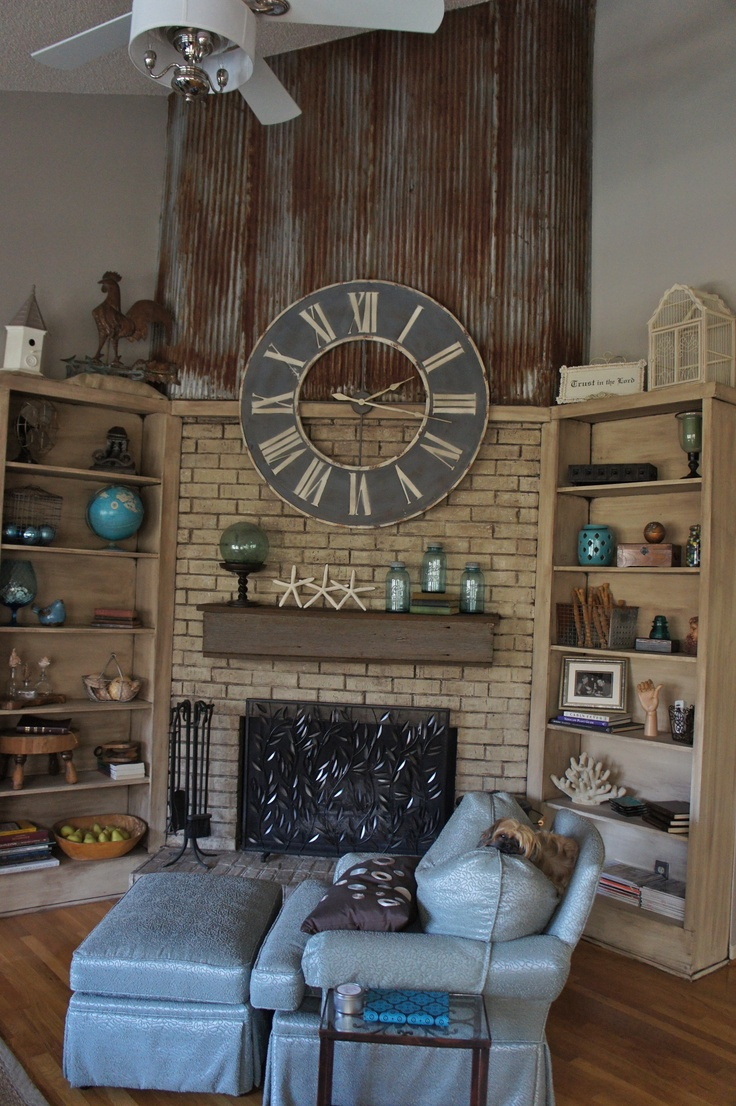 New fireplace with tv eclectic family room minneapolis - Fireplace Makeover Complete