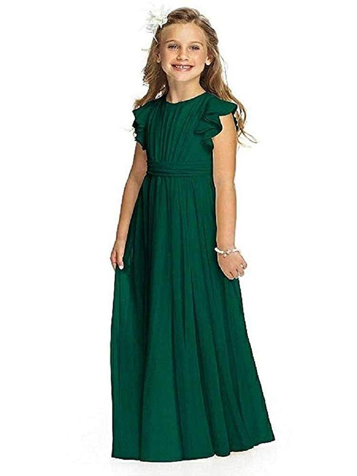 Flower girl dress chiffon flutter sleeve holy communion