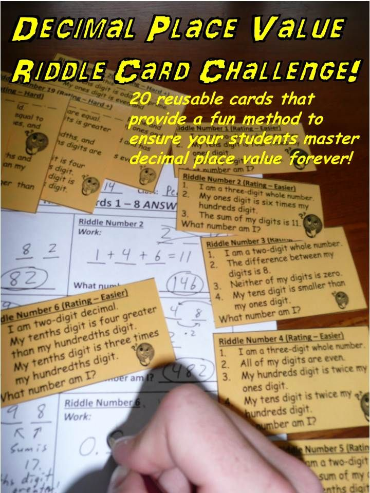 """A fun method for your students to think critically about decimal place value. Ideal for a decimals unit or a back to school review. This common core based product consists of 20 reusable """"What number am I?"""" cards that can be laminated, cut up, and distributed to students. Review the place value tips (detailed on instruction page), walk through the provided solution to the practice riddle card, explain the rules, and send the students off on this exciting educational game!"""