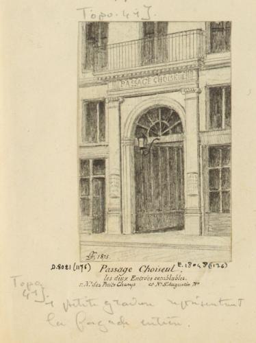 Passages R. D. : passage Choiseul. Les deux entrées semblables. Rue Notre-Dame des petits champs et Notre-Dame Saint-Augustin n°.   Paris Musées
