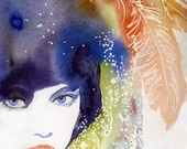 """watercolour Fashion Illustration Canvas 24"""" x 35"""" Print of Painting titled: Galliano Feathers: Inspiration, Watercolor Fashion, Watercolors, Art, Water Color, Cate Parr, Watercolour, Painting, Fashion Illustrations"""