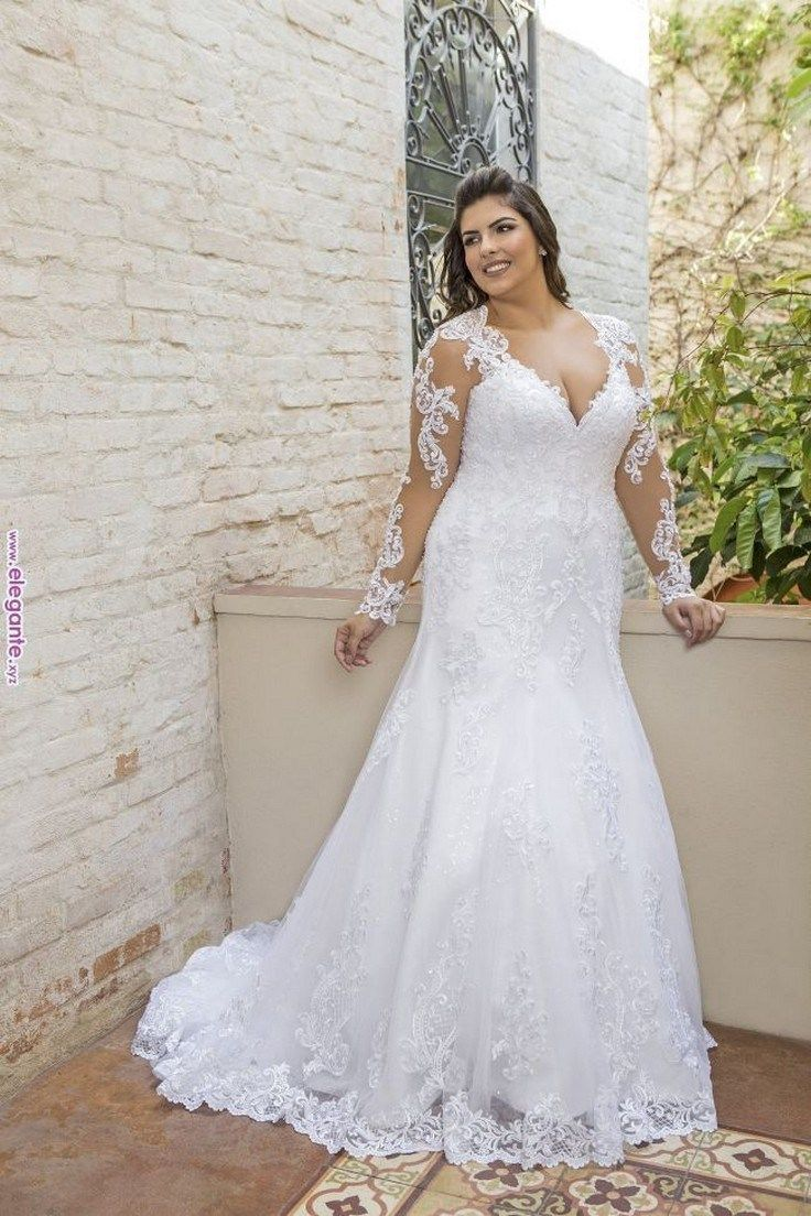 23 Full Lace Wedding Dresses Plus Size With Empire High Waist Agilshome Com Plus Size Wedding Dresses With Sleeves Plus Wedding Dresses Wedding Dresses [ 1104 x 736 Pixel ]